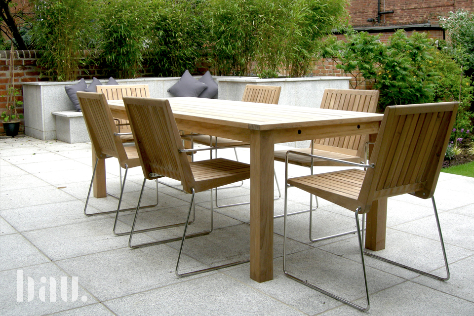 Tripoli contemporary teak garden chairs bau outdoors for Modern garden furniture
