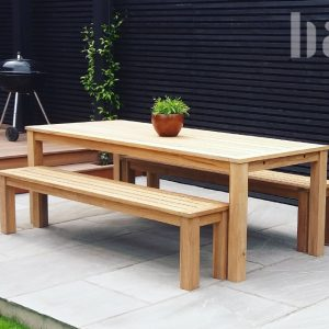 Contemporary Garden Table and Benches Bau