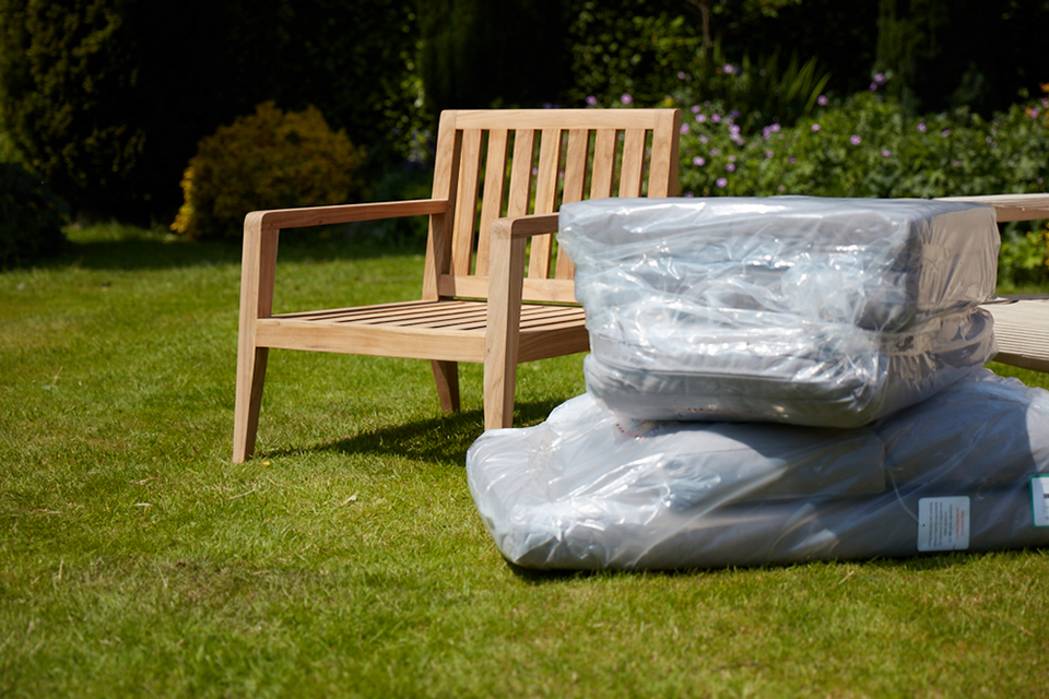Outdoor Cushions wrapped