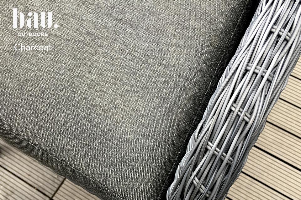 Charcoal Fabric on Garden Armchair